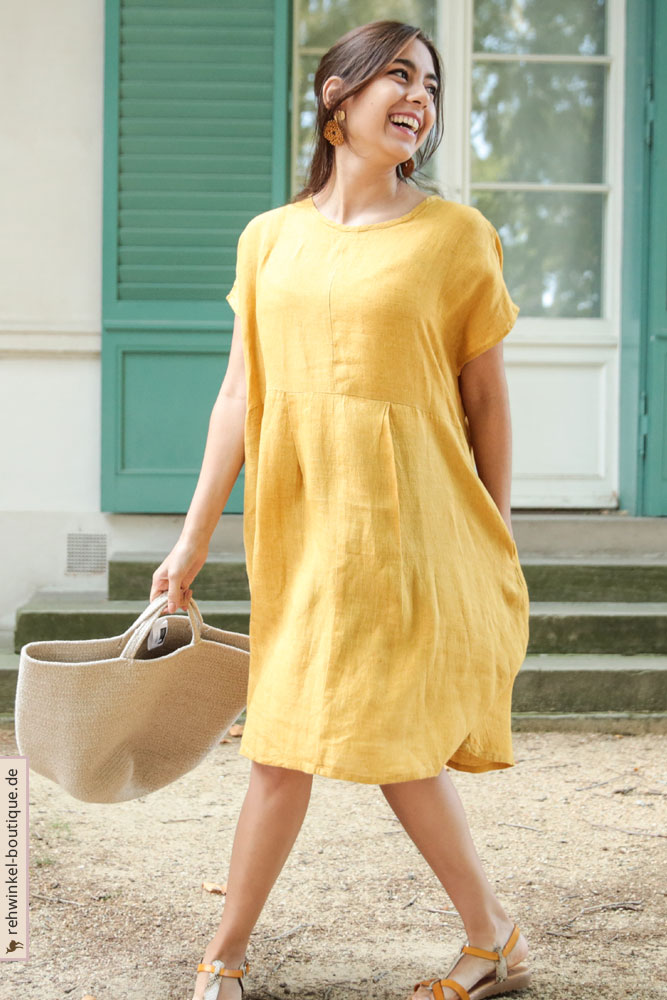 Luftiges Leinenkleid in Gelb mit Seitentaschen